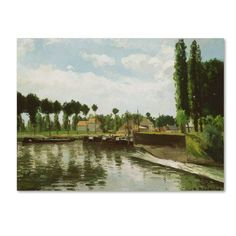 Trademark Fine Art 'The Lock at Pontoise' Canvas Art by Camille Pissarro, Green