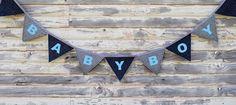 Denim Blue Vintage Baby shower banner by BillieBellaBunting