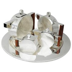 Incredible Art Deco Inspired Sterling Silver Coffee and Tea Service With Tray | From a unique collection of antique and modern tea sets at https://www.1stdibs.com/furniture/dining-entertaining/tea-sets/