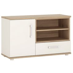 4KIDS 1 Door 1 Drawer TV/HI FI Cabinet In Light Oak And White High Gloss With Opalino Handles
