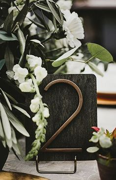 Wood and metal modern wedding table number. Modern Estate Wedding in Oceanside - Inspired By This Wedding Reception Tables, Wedding Table Centerpieces, Wedding Table Numbers, Wedding Decorations, Decor Wedding, Diy Wedding, Dream Wedding, Quinceanera Centerpieces, Cake Wedding