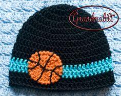 Crocheted Baby Boy or Girl Basketball Hat Handmade by Grandmabilt, $12.00