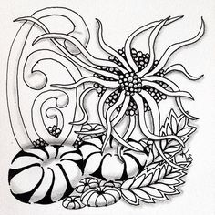 "#zentangle 2015-034, ""One Zentangle A Day"" day 15. I'm finding I like learning/practicing the patterns one day and doing the tile the next. This one features pepper, squid and ynix with some tipple, mooka, and festune thrown in. 