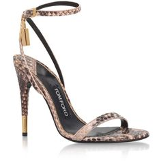 TOM FORD Maison Snakeskin Sandals ($1,060) ❤ liked on Polyvore featuring shoes, sandals, golden sandals, shiny shoes, high heel stilettos, strappy sandals and stiletto shoes