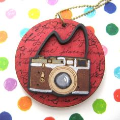 $10 Ink Typography on Wood Camera Lens Photography Pendant Necklace in Red