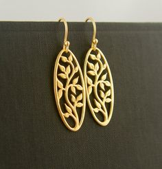 Gold oval tree of life pendant earrings, gold tree earrings, family tree jewelry, gold pendant earrings on Etsy, $44.00