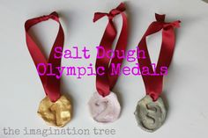 The Imagination Tree: Salt Dough Olympic Medals! I think JJ and I will be making these! Kids Olympics, Summer Olympics, Projects For Kids, Craft Projects, Crafts For Kids, Craft Ideas, Preschool Ideas, Preschool Crafts, Olympic Idea