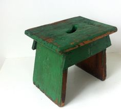 Primitive Green Wood Farm Childs Children's Kitchen Stepping Step Stool Rustic…