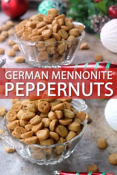 Peppernuts (or Pfeffernusse Cookies) are a traditional German cookie often made in Mennonite communities in the US. They are a highly addictive, tiny, crunchy cookie filled with warming spices and are perfect for gift giving during the holidays! Chex Mix Recipes, Cookie Recipes, Dessert Recipes, Holiday Baking, Christmas Baking, German Christmas Food, Peppernuts Recipe, German Cookies, Deserts