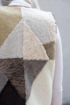 Milena Silvano Sheepskin Patchwork Diamond Vest I