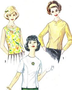 1960s Womens Blouse Pattern Simplicity 4523 by paneenjerez on Etsy, $10.00