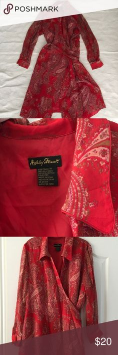 Red Silk long sleeve dress. Size 14 Ashley Stewart Red Silk dress lined except the sleeves. Red paisley print with a hint of cream and olive. Similar to multi one in shop Ashley Stewart Dresses Long Sleeve