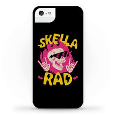 Skella Rad - Yeah you're a sick looking flaming skull with hella cool shades on. That's metal as heck. Rip through hell on a skateboard with this Skella Rad Skull phone case equip with really really cool sunglasses and flames, as well as skeleton hands throwing up the sign of the horns.