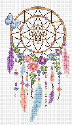 dreamcatcher cross stitch chart, You can produce very specific styles for fabrics with cross stitch. Cross stitch designs can nearly amaze you. Cross stitch beginners can make the designs they need without difficulty. Cross Stitch Borders, Modern Cross Stitch, Cross Stitch Flowers, Cross Stitch Charts, Cross Stitch Designs, Cross Stitching, Cross Stitch Embroidery, Embroidery Patterns, Cross Stitch Patterns