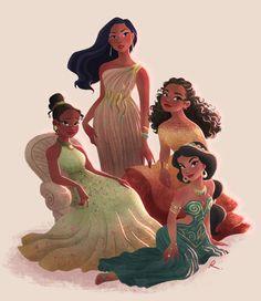 Disney Princess Fashion, Disney Princess Drawings, Disney Princess Art, Disney Drawings, Modern Disney Princesses, Princess Jasmine Art, Disney Princess Paintings, Disney Princess Cartoons, Disney Princess Jasmine