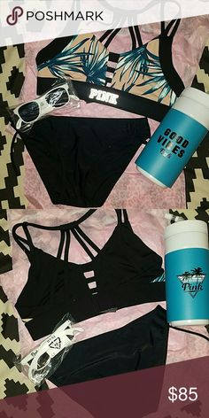 """FREE SHIPPING - VS PINK BEACH BUNDLE NWT. BOTTOMS ARE NOT VS PINK)  Unlined SPORTS BRA WITH solid black bikini bottom (brand -SO in size SMALL)  . BOTTLE OPENER SUNGLASSES. """"GOOD VIBES"""" WATER BOTTLE. MODELED PICTURES ARE TO SHOW FIT (NOT EXACT PRINT) ... not exactly swimwear- but material is polyester & elastic -- $7 will be deducted from total, to take care of shipping PINK Victoria's Secret Swim"""