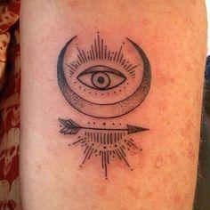 eye, moon, arrow, lines