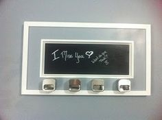 Chalk & Magnet Board from picture frame. but add chicken wire to outside