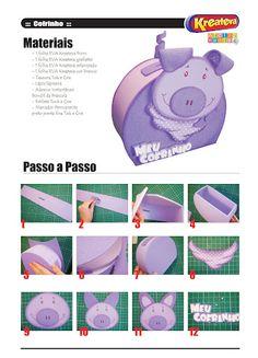 Cofrinho porquinho de EVA com moldes - Artesanato Brasil