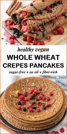 A healthy dessert made with simple ingredients that tastes great! These crepes vegan pancakes are completely whole food, plant based and have no oil and are sugar-free. Yet, they are so delicious and easy to make! Healthy Vegan Breakfast, Diet Breakfast, Breakfast Ideas, Easy Healthy Recipes, Whole Food Recipes, Vegan Recipes, Vegan Desserts, Dessert Recipes, Nutritarian Diet