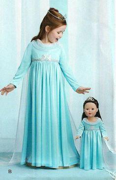 GEFRORENE Schnittmuster / Make Elsa Dress für Mädchen und für American Girl Puppe/Plus Prinzessin und Feenkostüme