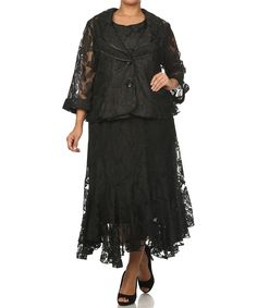 Look at this Black Lace Maxi Skirt Set - Plus on #zulily today!