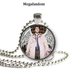 Castiel Supernatural Pendant Necklace Silver Plated 25mm Supernatural Jewelry Fandom Jewelry