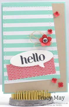 Stampin up Fresh prints Petite Petals punch itty bitty punch Four You Tracy May card making ideas