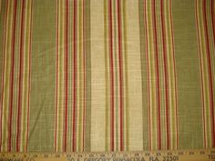 TEA RED OLIVE WAVERLY STRIPE COTTON UPHOLSTERY FABRIC