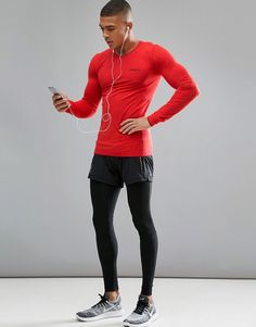 Sportswear Men's Active Comfort Running Top, long sleeve jogging shirt, compression tr Athletic Outfits, Athletic Wear, Sport Outfits, What To Wear Today, How To Wear, Gym Outfit Men, Mens Tights, La Mode Masculine, Fitness Fashion