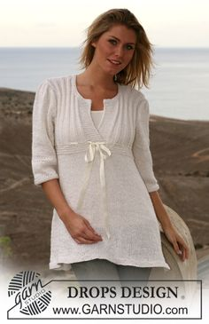 "DROPS tunic with Rib border in ""Alpaca"" and ""Cotton Viscose"". Size S – XXXL ~ DROPS Design"