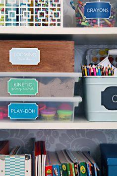 A Crafty Kids Cabinet - IHeart Organizing - Kids room organization.