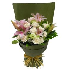 8ad56d567e Stargazer Lilies Arranged with Roses and Greens