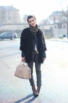leather jacket under fur