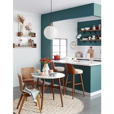 """""""""""Painting the outside of the kitchen area a different color really makes it feel like its own room."""" – @bluapples. See more of her #WEsmallspace tips today on our blog! #westelm #aptliving"""" Photo taken by @westelm on Instagram, pinned via the InstaPin iOS App! http://www.instapinapp.com (01/15/2015)"""