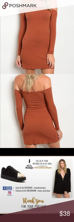 "Rust Ribbed Off The Shoulder Dress S ( 3-5 ) M ( 7- 9) L ( 10 - 12 )  Made In The USA  Fabric Content: 96% RAYON 4% SPANDEX  Measurements For Small L: 30"" B: 22"" W: 24"" 