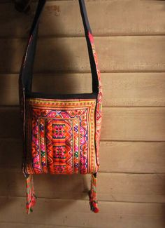 Ethnic embroidery cross body purse with fringe