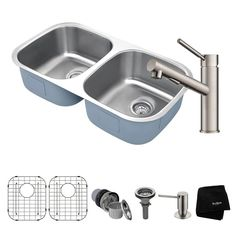 Premier All-in-One Undermount Stainless Steel (Silver) 32 in. 50/50 Double Bowl Kitchen Sink with Faucet in Stainless Steel