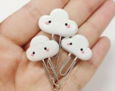Clay Kawaii Cloud Paperclip