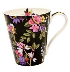 Floral on Black Mug