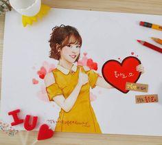 IU FanArt by Woony Color Pencil Art, Colored Pencils, Disney Characters, Fictional Characters, Sketches, Fan Art, Disney Princess, Drama, Porcelain