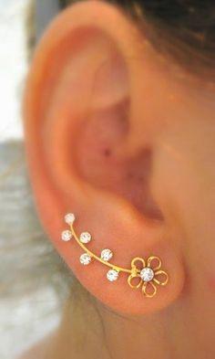Gold filled with Swarovsky Ear Sweep Ear cuff Earsweep Earcuff Earring  flower gift for her women wedding , bridesmaid, bridesjewelry, ear climber, ear jacket
