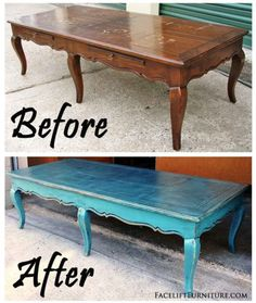 Curvey Coffee Table in Distressed Sea Blue & Black Glaze - Before & After from F. - - Curvey Coffee Table in Distressed Sea Blue & Black Glaze – Before & After from Facelift Furniture <! Refurbished Coffee Tables, Blue Coffee Tables, Coffee Table Makeover, Painted Coffee Tables, Diy Coffee Table, Decorating Coffee Tables, Coffee Table Upcycle Ideas, Diy Decorating, Vintage Home Decor