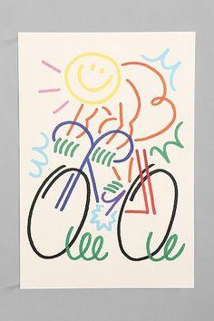 Jordy Van Den Nieuwendijk Figure On Bike Art Print.   Baby boy's room?   On sale for $14.99