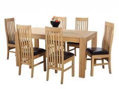 Clermont Decent Oak Extendable Dining Table  6 Sinna Dining Chairs