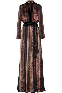 Lanvin|Velvet and grosgrain-trimmed printed satin maxi dress|NET-A-PORTER.COM