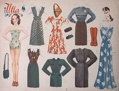 """Paper Doll """"Ulla"""" made at 1940-50 by Paletti - love the 40's clothes!"""