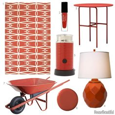 House Beautiful Color of the Week: Rust Red- The hand-woven Fallon rug with a dynamic geometric motif by Jill Rosenwald is showcased in this color story on accessories with warm hues ideal for ushering in fall.