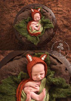 Newborn boy. Fox bonnet. Woodland set up. Newborn photography session. Christie-Lee Johnston Photography