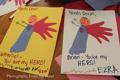 Send to soldiers over seas!Tips from the Heart for the Home: Support your Soldier: Hands Down You're my Hero Craft also a great valentines or fathers day idea Dad Crafts, Fathers Day Crafts, Preschool Crafts, Crafts For Kids, Preschool Themes, Holiday Crafts, Holiday Fun, Spring Crafts, You Are My Superhero